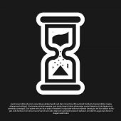 Black Old Hourglass With Flowing Sand Icon Isolated On Black Background. Sand Clock Sign. Business A poster