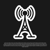 Black Antenna Icon Isolated On Black Background. Radio Antenna Wireless. Technology And Network Sign poster