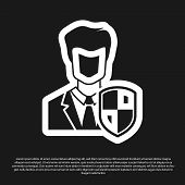 Black User Protection Icon Isolated On Black Background. Secure User Login, Password Protected, Pers poster