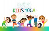 Kids Yoga Horizontal Banners Design Concept. Girls And Boys In Yoga Position Vector Illustration. Ha poster