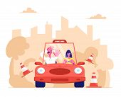 Driving School, Learner Driving Car With Frightened Instructor. Student Driver Girl Study Drive Auto poster