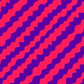 Diagonal Wavy Lines Seamless Pattern. Vector Abstract Liquid Lines Texture. Simple Purple And Pink B poster