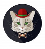 Animal, Portrait Of Cat, Vintage Look, Cat Dressed In Retro Style poster