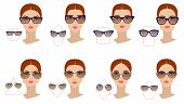 Female Sunglasses Shapes In Accordance With The Shape Of The Face. Eight Face Shapes With Options Fo poster