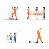 Conquering Freedom Vector Illustrations Set. Female Activists With Placard On Demonstration, Childre poster