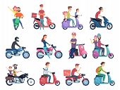 Motorcycle Riders. Male And Female Drivers In Helmet On Bike Fast Courier Characters Vector Pictures poster