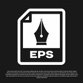 Black Eps File Document Icon. Download Eps Button Icon Isolated On Black Background. Eps File Symbol poster