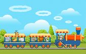 Animals Train. Baby Animal Traveling, Cute Animals Travel By Railway Transport Vector Illustration,  poster
