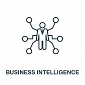 Business Intelligence Outline Icon. Thin Line Concept Element From Business Management Icons Collect poster