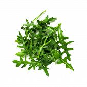 Heap Of Arugula Leaves. Fresh Green Arugula Or Rucola Leaves Isolated On White With Clipping Path. T poster