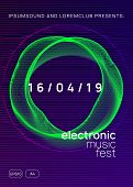Music Poster. Dynamic Gradient Shape And Line. Futuristic Show Banner Concept. Neon Music Poster. El poster