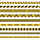 Yellow And Black Barricade Construction Tape. Police Warning Line. Brightly Colored Danger Or Hazard poster