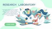 Scientist Working In Laboratory On The Abstract Background. Medical Researchers Doing Experiments An poster