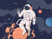 Astronaut Exploring Outer Space. Cosmonaut In Spacesuit Performing Extravehicular Activity Or Spacew poster