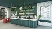 Cafe Shop Design Modern & Minimal Green Counter Top Granite Stone,metal Light Pendant,green Curved P poster