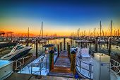 Boats In Coconut Grove Harbor At Sunset. Florida, Usa poster