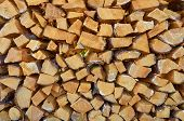 Stacks Of Cut Firewood, Close Up, Firewood Background poster