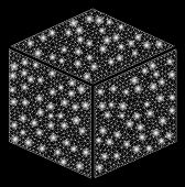 Glowing Mesh Isometric Cube With Sparkle Effect. Abstract Illuminated Model Of Isometric Cube Icon.  poster