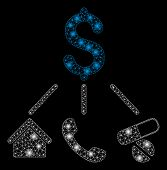 Flare Mesh Life Expenses With Glitter Effect. Abstract Illuminated Model Of Life Expenses Icon. Shin poster