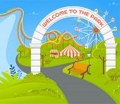 Empty Amusement Park With No People Vector, Path And Wooden Bench, Attraction And Ferris Wheel With  poster