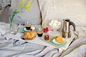 Romantic Breakfast  Or Brunch For Two In Bed. Coffee Maker  And Coffee Glasses, Croissants, Jam, Ber poster