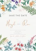 Botanical Wedding Invitation Template With Hand Drawn Herbs And Flowers. Colored Save The Date Card  poster