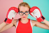 Smart And Strong. Woman Boxing Gloves Adjust Eyeglasses. Win With Strength Or Intellect. Strong Inte poster