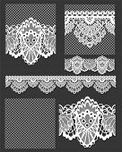 stock photo of lace  - Delicate White Lace Seamless Vectors Patterns and Brushes - JPG