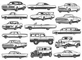 Retro Car And Vintage Auto Vector Icons. Old Motor Vehicle Transport Monochrome Symbols Of Coupe, Se poster
