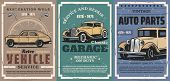 Vintage Car Repair Service And Auto Vehicle Spare Parts Vector Posters. Retro Cars With Mechanic Gar poster
