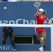 FLUSHING - AUGUST 30: Justine Henin-Hardenne of Belgium hits to Zuzana Ondraskova of the Czech Repub