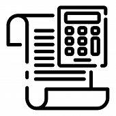 Calculator Money Invoice Icon. Outline Calculator Money Invoice Vector Icon For Web Design Isolated  poster