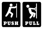 Push And Pull Door Sign On Black Background.white Push Door Sign And White Pull Door Sign On Black B poster