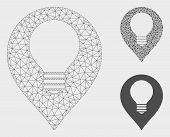 Mesh Lamp Bulb Marker Model With Triangle Mosaic Icon. Wire Frame Triangular Mesh Of Lamp Bulb Marke poster