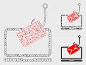 Mesh Laptop Letter Phishing Model With Triangle Mosaic Icon. Wire Carcass Triangular Mesh Of Laptop  poster