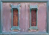 Old British Postal Mail Boxes With Rusted Letter Slots And Ornate Green Copper Frames With The Words poster