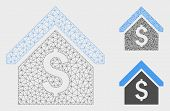 Mesh Loan Mortgage Model With Triangle Mosaic Icon. Wire Carcass Polygonal Mesh Of Loan Mortgage. Ve poster