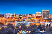 Colorado Springs, Colorado, USA downtown city skyline at dusk. poster