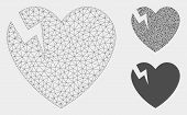 Mesh Heart Crack Model With Triangle Mosaic Icon. Wire Frame Polygonal Network Of Heart Crack. Vecto poster