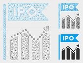 Mesh Ipo Chart Model With Triangle Mosaic Icon. Wire Carcass Triangular Mesh Of Ipo Chart. Vector Mo poster