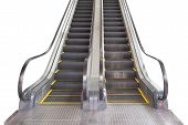 Escalator Isolated On White Background. Front View. Escalator In Subway Station. Moving Up Staircase poster
