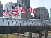 Pedestrian Bridge And Flags