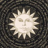 Hand-drawn Illustration Of The Sun With Magical Inscriptions In Retro Style On Black Background. Vec poster