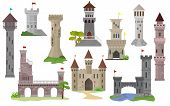 Cartoon Castle Vector Fairytale Medieval Tower Of Fantasy Palace Building In Kingdom Fairyland Illus poster