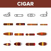 Lit Luxurious Cuban Cigar Vector Icons Set. Nicotine, Narcotic Addiction, Bad Habit Outline Cliparts poster