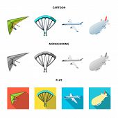Isolated Object Of Transport And Object Symbol. Set Of Transport And Gliding Stock Vector Illustrati poster