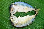 stock photo of chub  - Chub mackerel on a banana leaf  - JPG