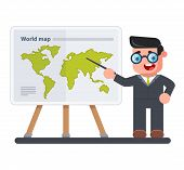 Geography Teacher With A Pointer In His Hand Shows A Map Of The World. Schooling. Flat Character poster