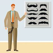 A Young Man Shows Different Types Of Mustache. Tells About Hairstyles, Mustache And Care For Them. V poster
