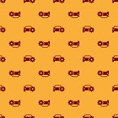 Red Car Service Icon Isolated Seamless Pattern On Brown Background. Auto Mechanic Service. Mechanic  poster